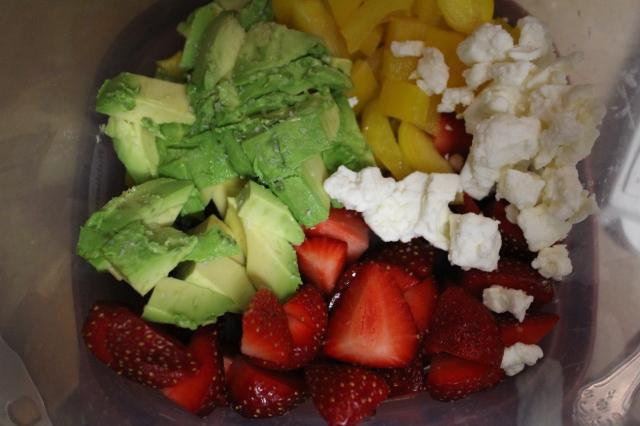 avocado, yellow bell pepper, feta, strawberries