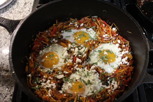 fried eggs with sweet potato hash browns
