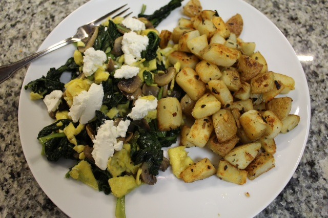 Kale and mushroom scramble with perfectly crispy potatoes