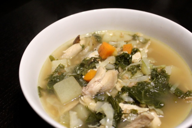 Chicken and farro soup